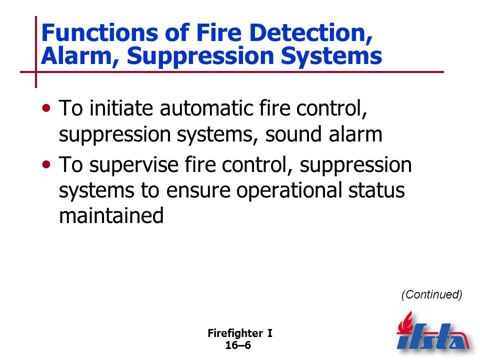 Functions of Fire Detection, Alarm, Suppression Systems