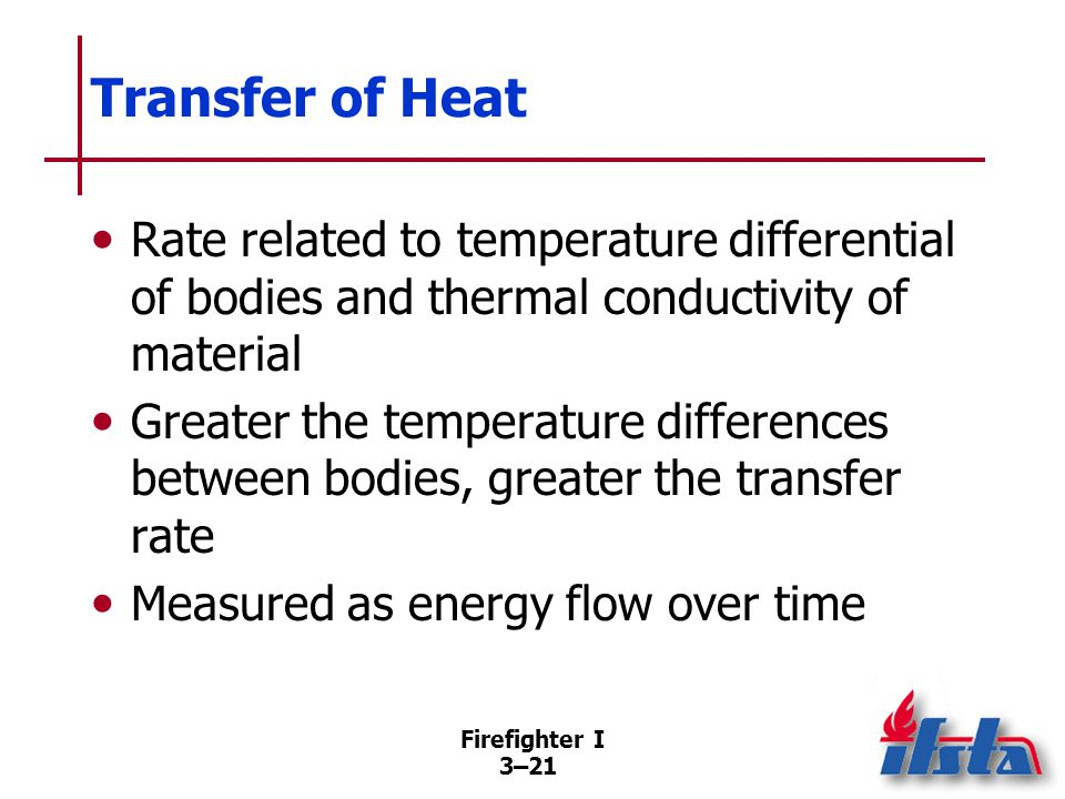 Conduction Transfer of heat within a body or to another body by direct contact.