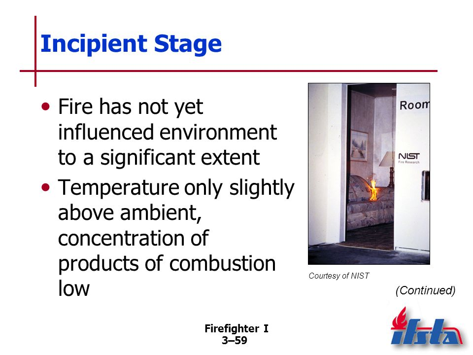 Incipient Stage Occupants can safely escape from compartment and fire could be safely extinguished with portable extinguisher or small hoseline.