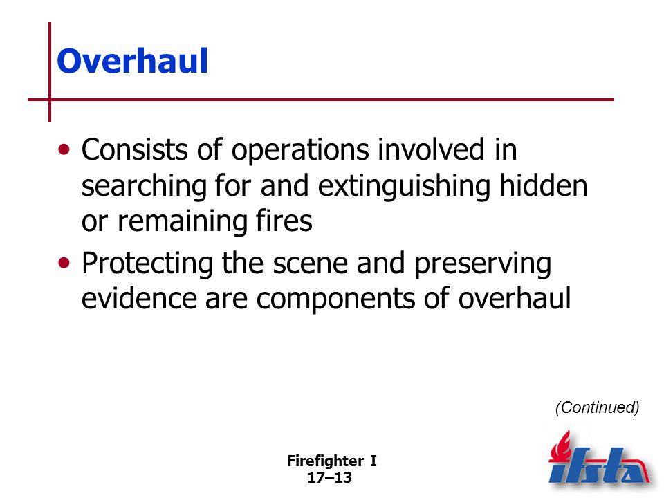 Overhaul If possible, do not start overhaul operations until