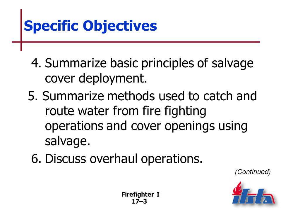 Specific Objectives 7. Describe tools and equipment used in overhaul.
