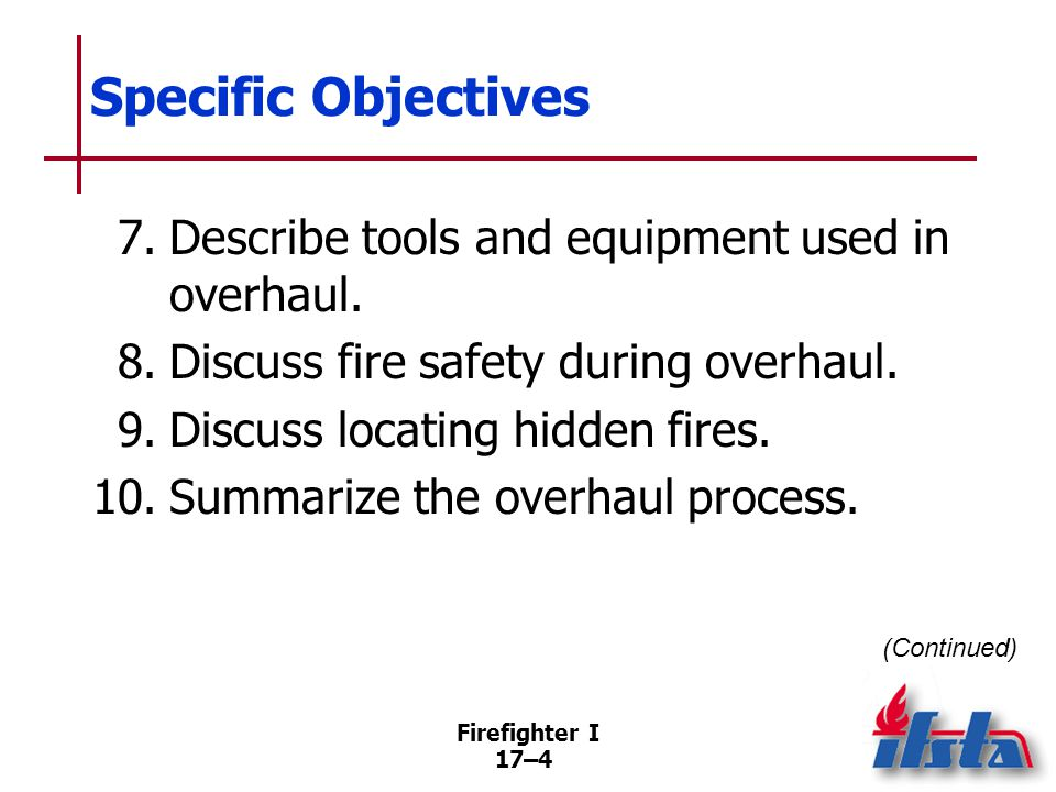 Specific Objectives 11. Clean, inspect, and repair a salvage cover. (Skill Sheet 17-I-1)