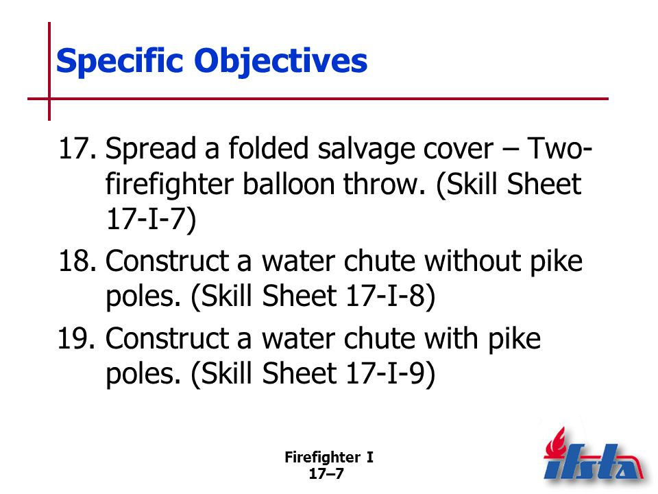 Specific Objectives 20. Construct a catchall. (Skill Sheet 17-I-10)