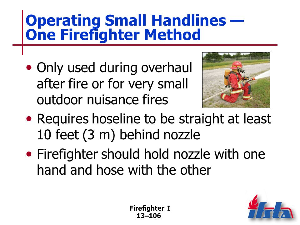 Operating Small Handlines — Two Firefighter Method
