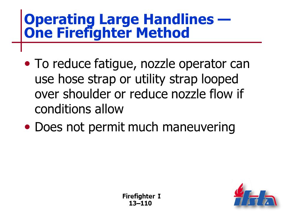 Operating Large Handlines — Two Firefighter Method #1
