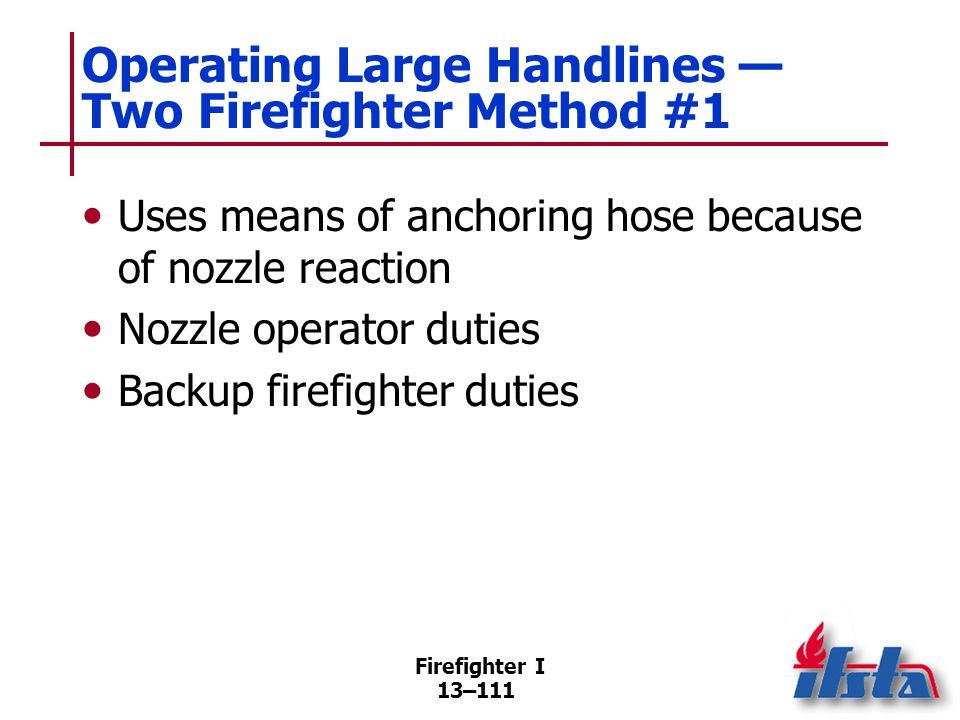 Operating Large Handlines — Two Firefighter Method #2