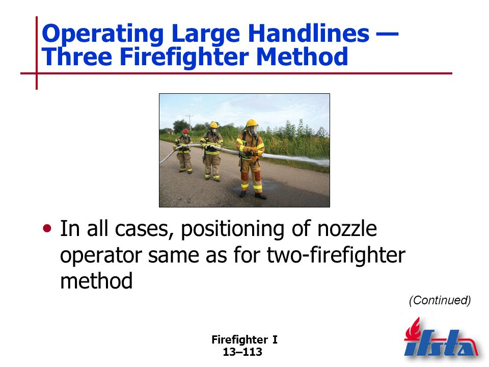 Operating Large Handlines — Three Firefighter Method