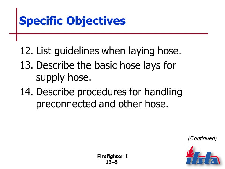 Specific Objectives 15. List general safety guidelines that should be followed when advancing a hoseline into a burning structure.