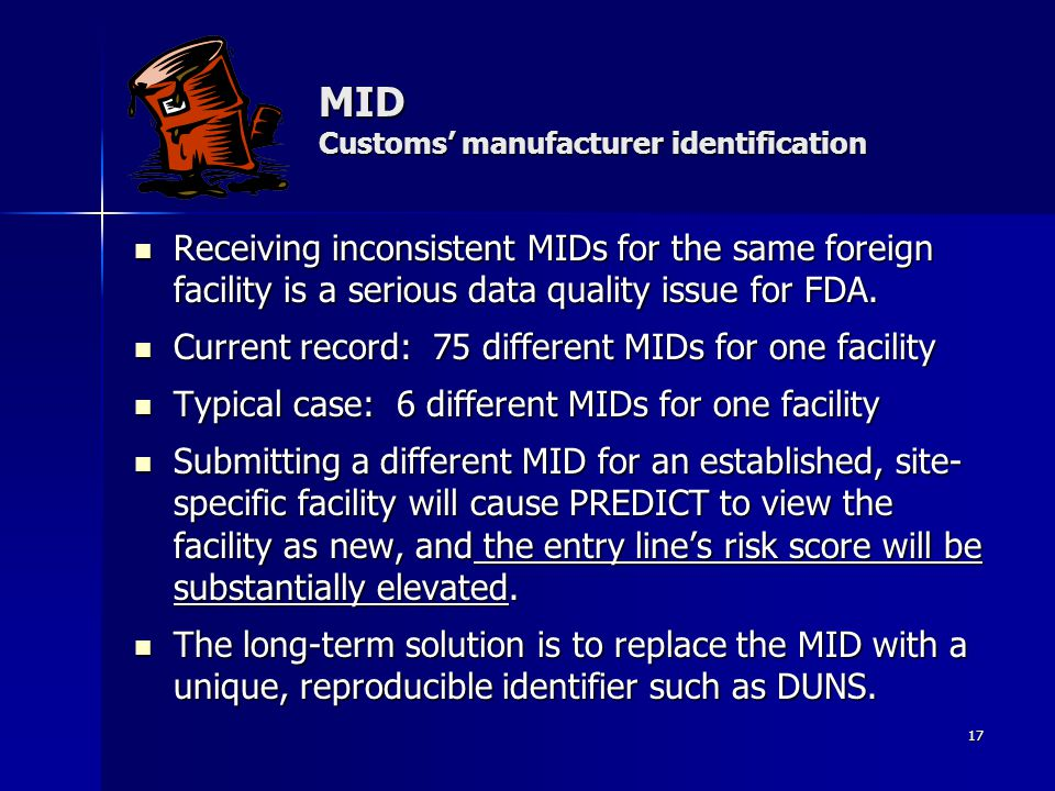 MID Customs' manufacturer identification