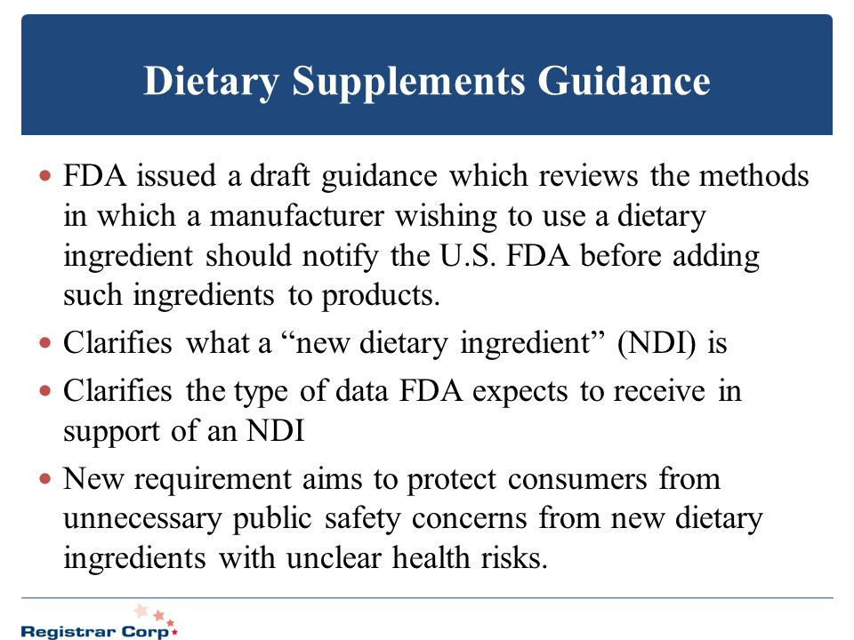 Dietary Supplements Guidance