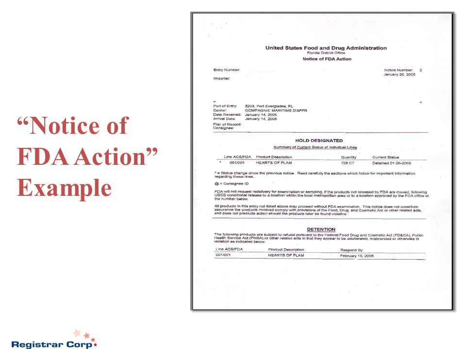 Notice of FDA Action Example