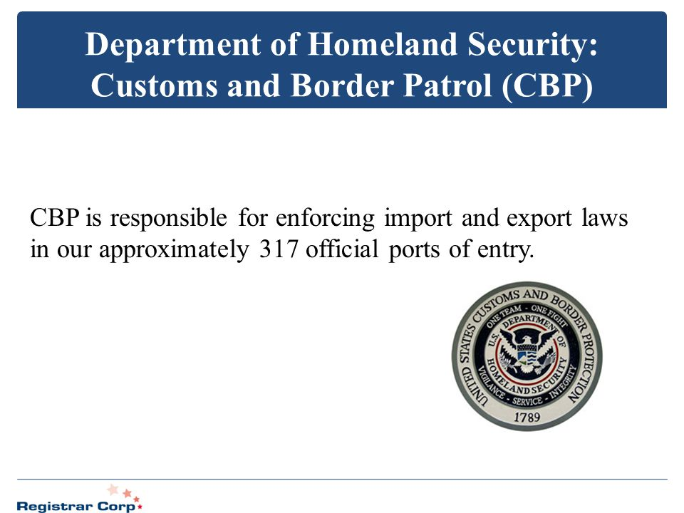 Department of Homeland Security: Customs and Border Patrol (CBP)