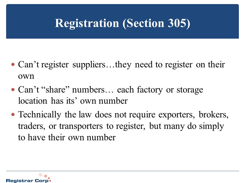 Registration (Section 305)