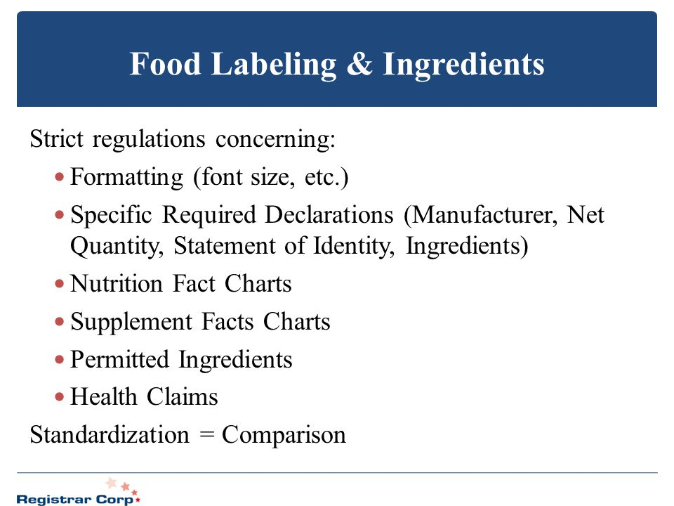 Food Labeling & Ingredients