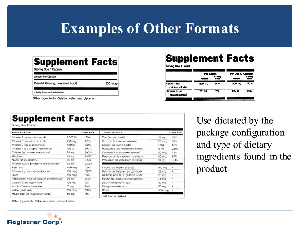 Examples of Other Formats