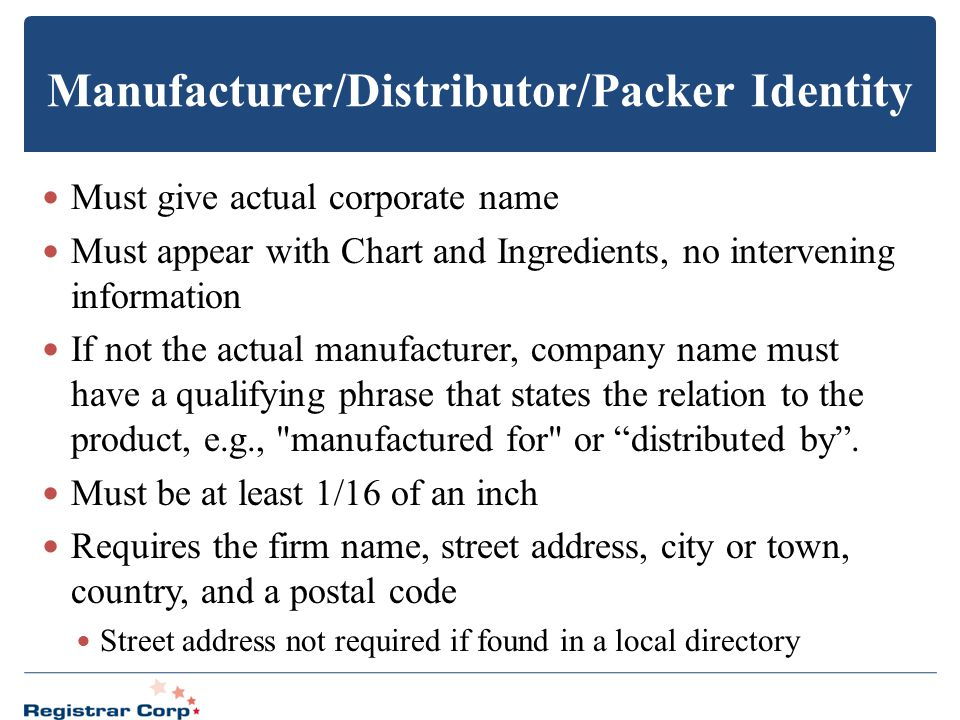Manufacturer/Distributor/Packer Identity