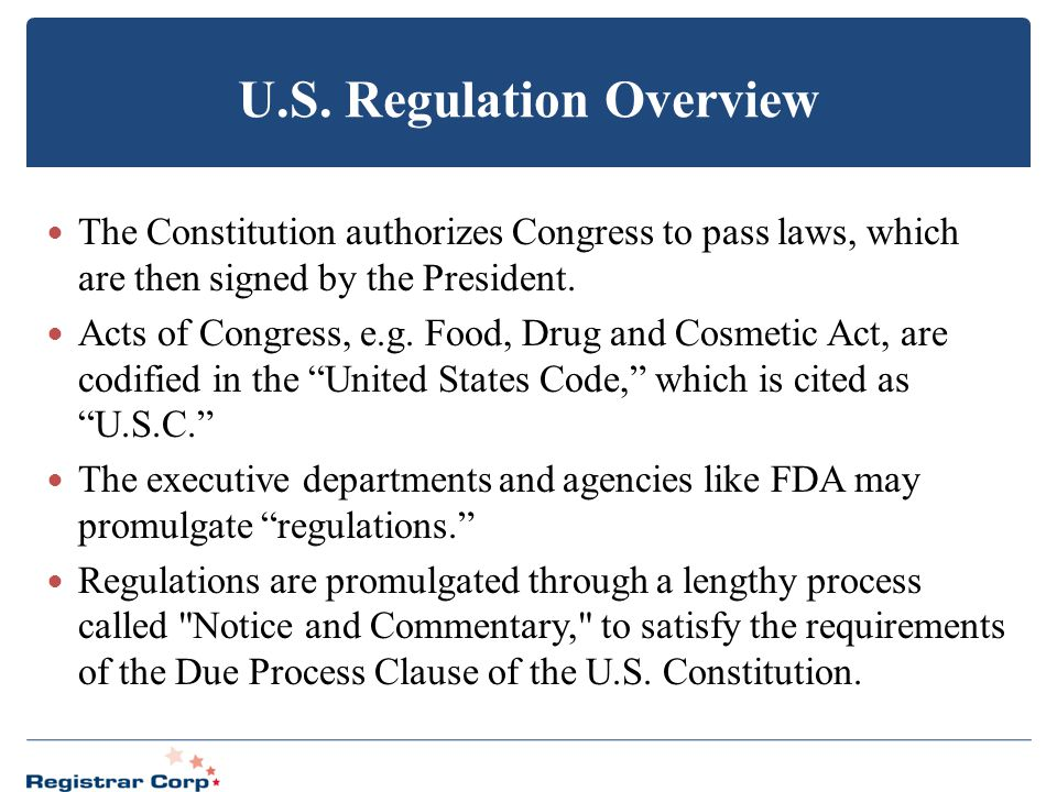 U.S. Regulation Overview