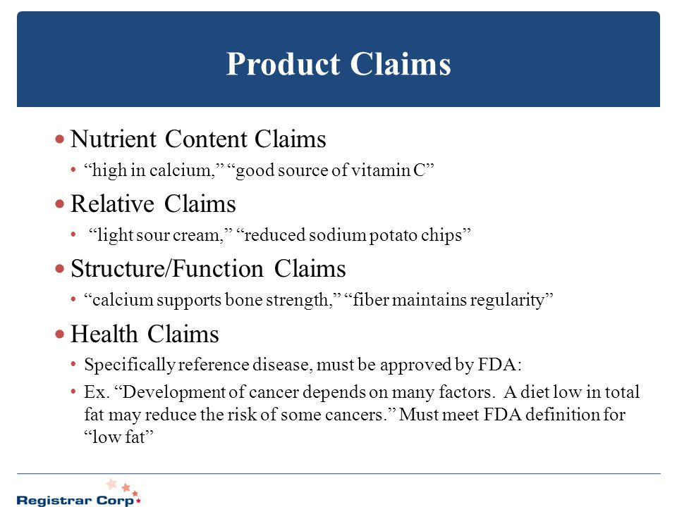 Product Claims Nutrient Content Claims Relative Claims