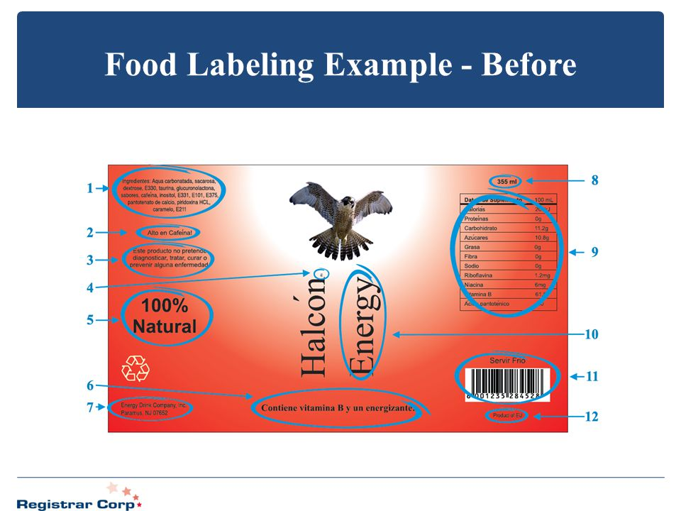Food Labeling Example - Before