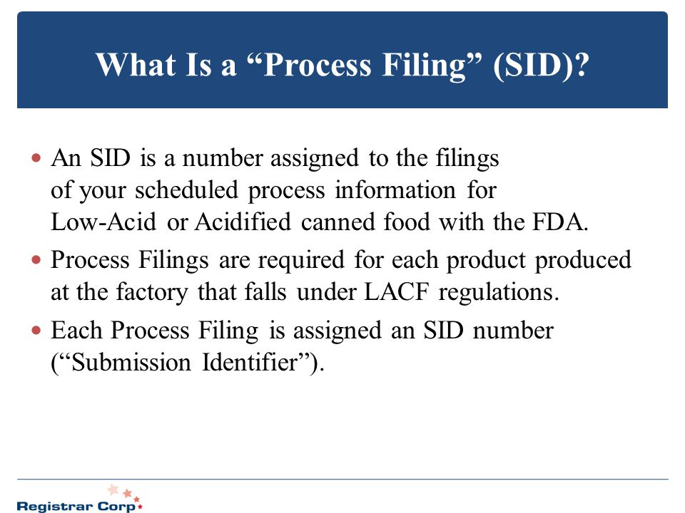 What Is a Process Filing (SID)