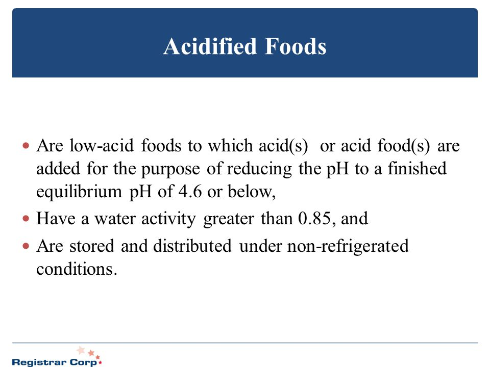 Acidified Foods
