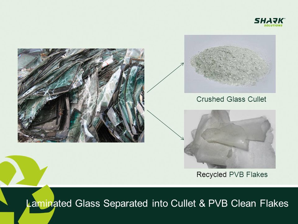 Laminated Glass Separated into Cullet & PVB Clean Flakes