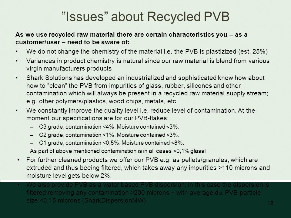 Issues about Recycled PVB