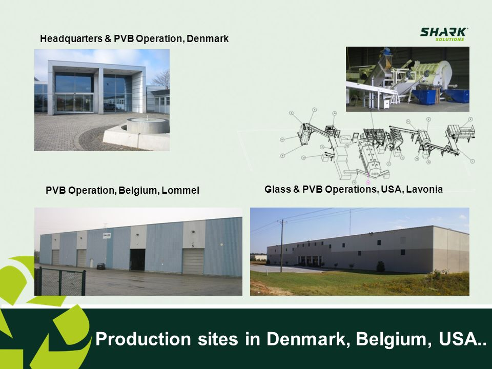 Production sites in Denmark, Belgium, USA..