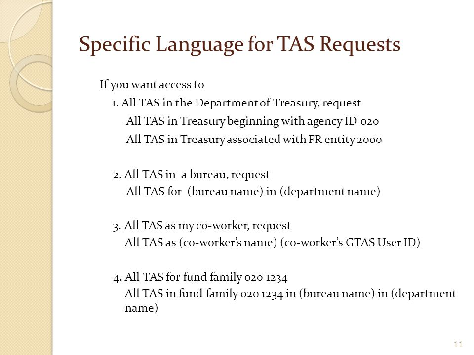 Specific Language for TAS Requests