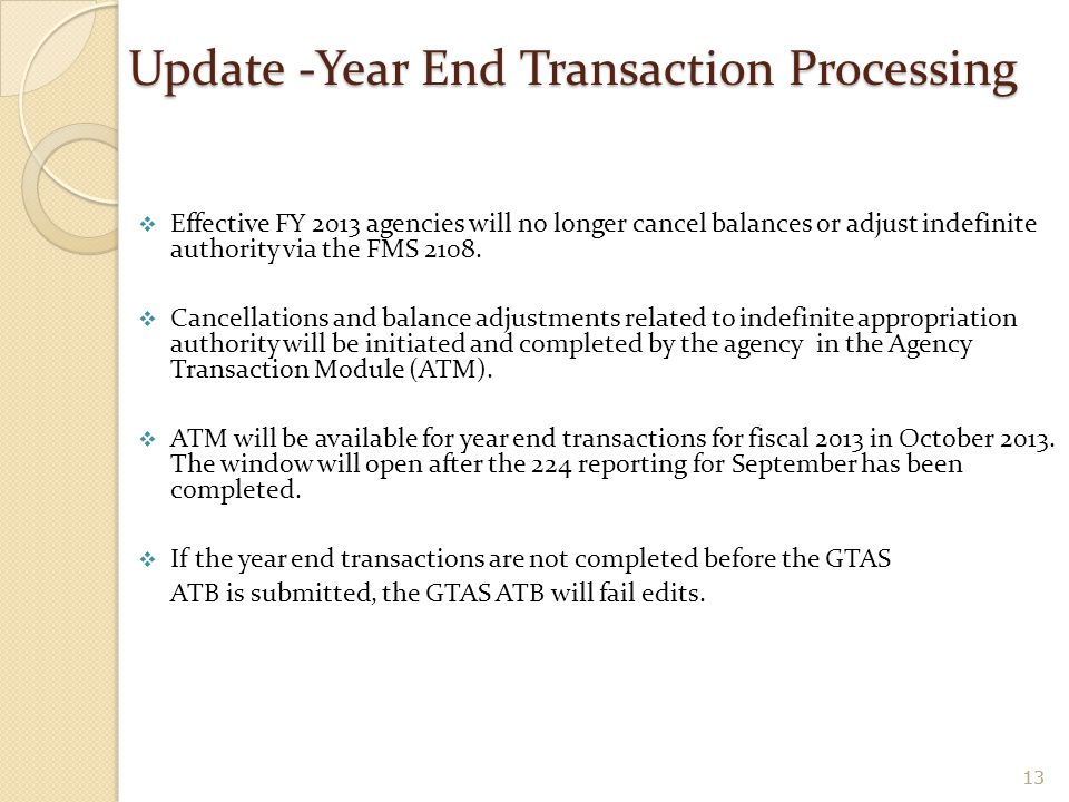 Update -Year End Transaction Processing