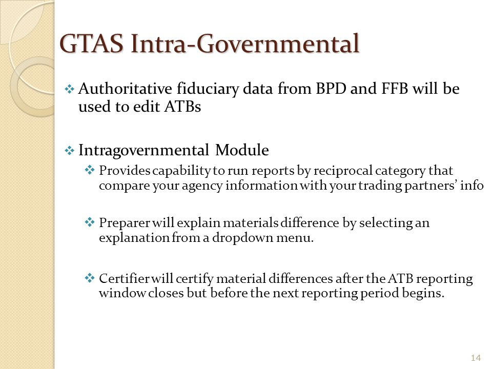 GTAS Intra-Governmental