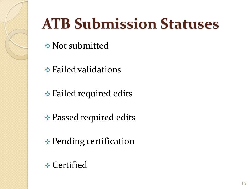 ATB Submission Statuses