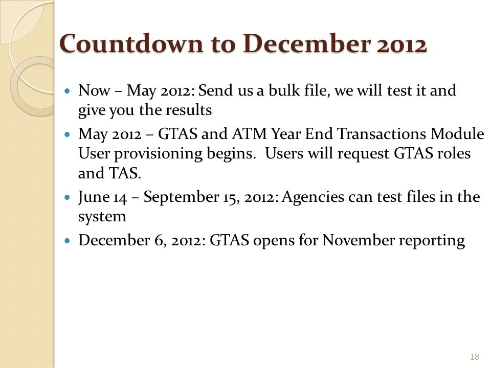 Countdown to December 2012 Now – May 2012: Send us a bulk file, we will test it and give you the results.