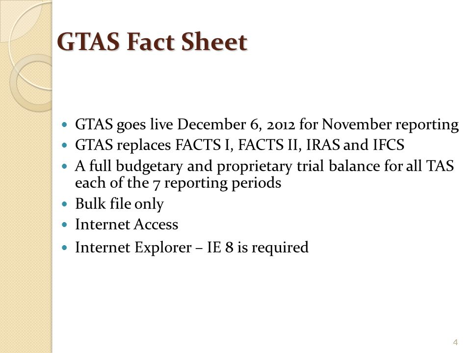 GTAS Fact Sheet GTAS goes live December 6, 2012 for November reporting