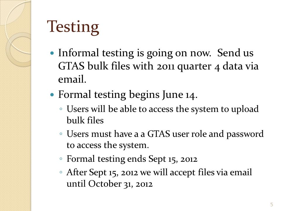 Testing Informal testing is going on now. Send us GTAS bulk files with 2011 quarter 4 data via email.