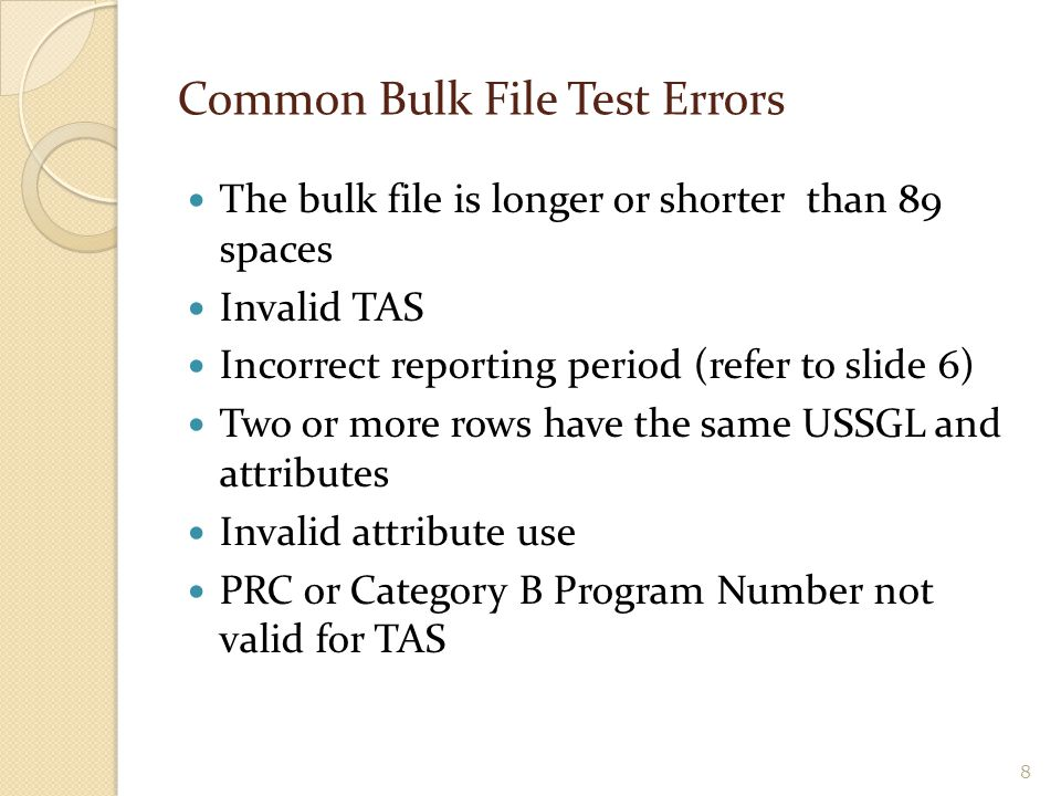 Common Bulk File Test Errors