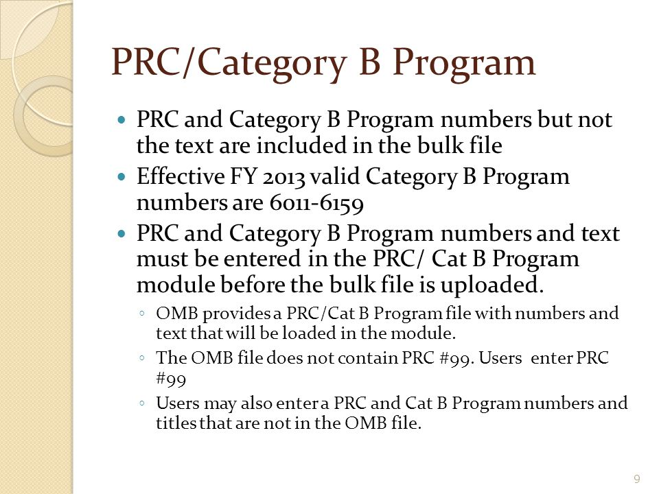 PRC/Category B Program