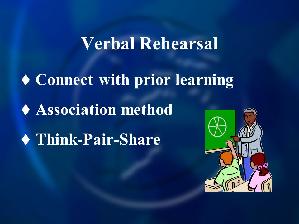 Verbal Rehearsal Connect with prior learning Association method