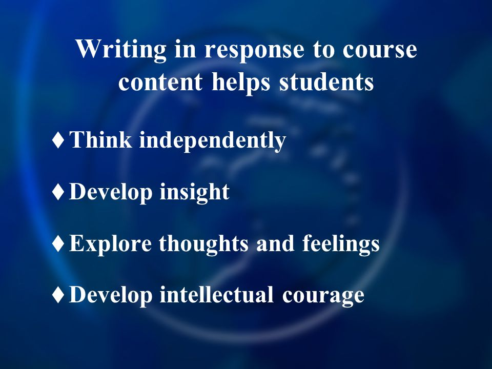 Writing in response to course content helps students