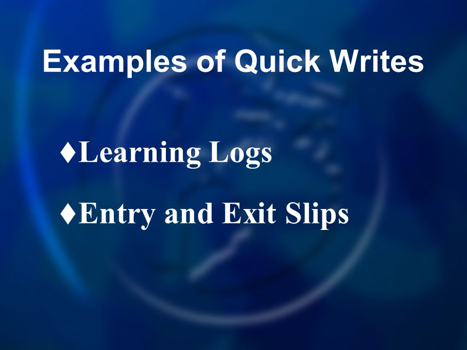 Examples of Quick Writes