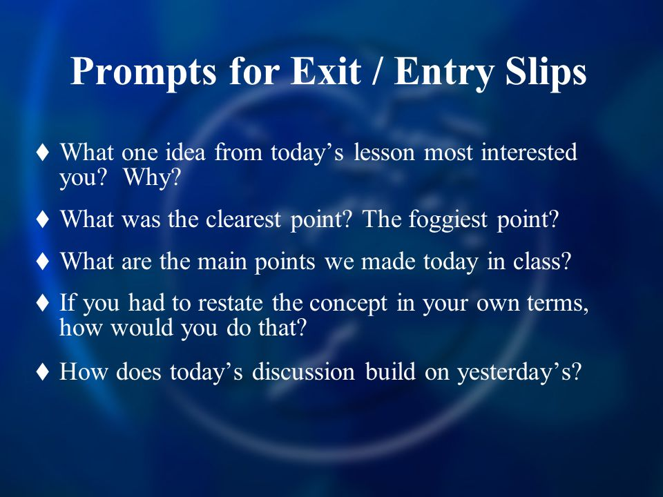 Prompts for Exit / Entry Slips