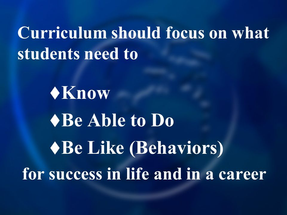 Curriculum should focus on what students need to