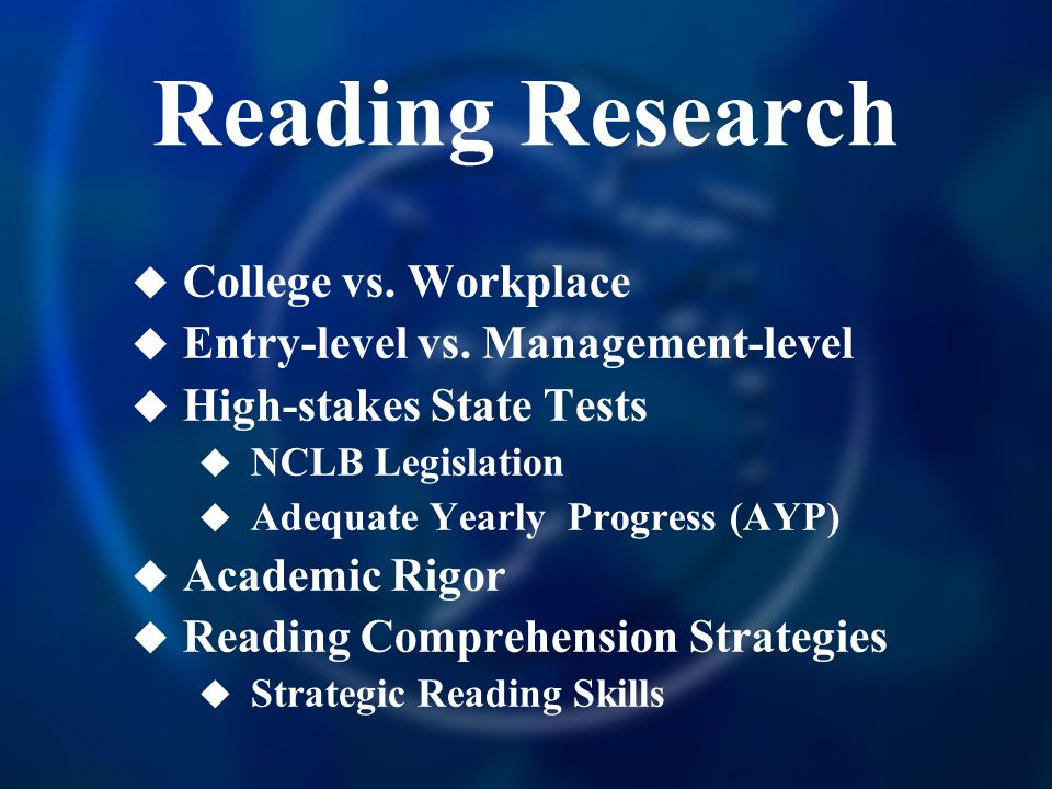 Reading Research College vs. Workplace