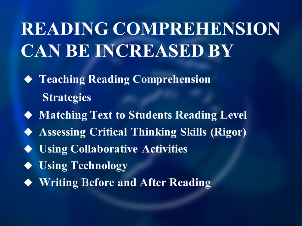 READING COMPREHENSION CAN BE INCREASED BY
