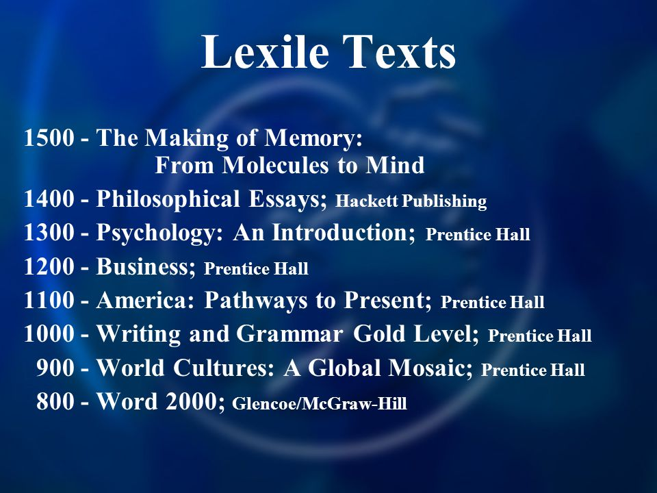Lexile Texts 1500 - The Making of Memory: From Molecules to Mind