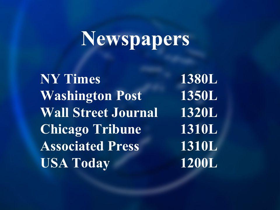 Newspapers NY Times 1380L Washington Post 1350L