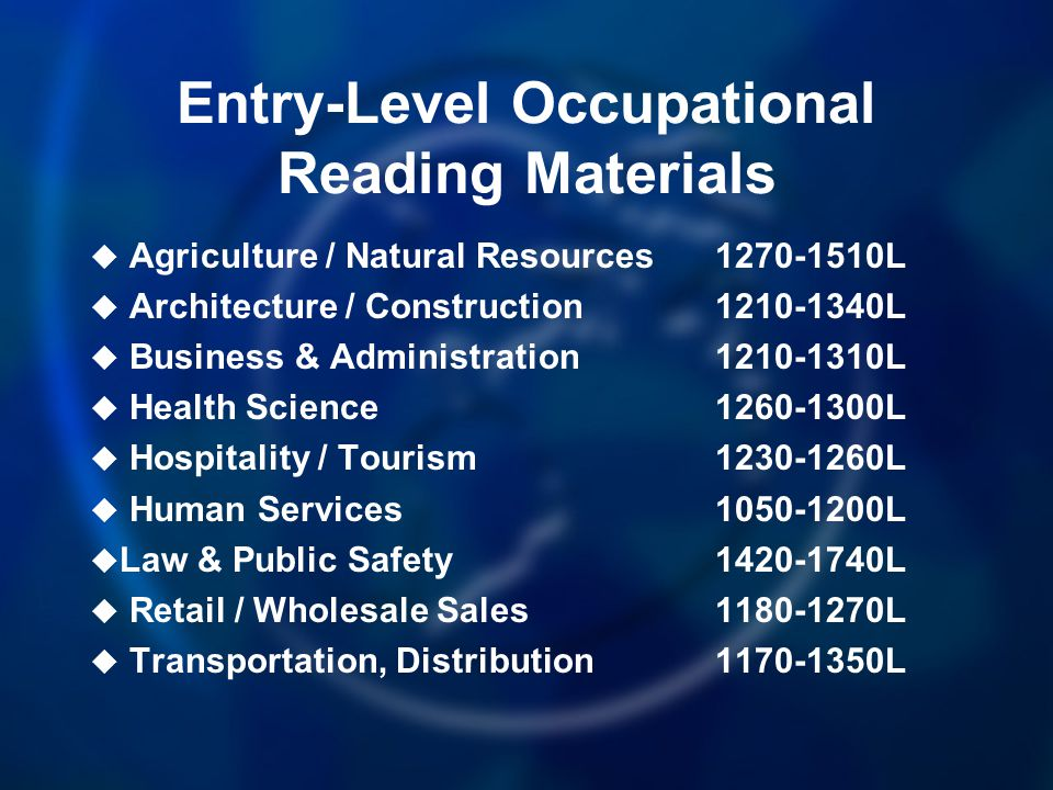 Entry-Level Occupational Reading Materials