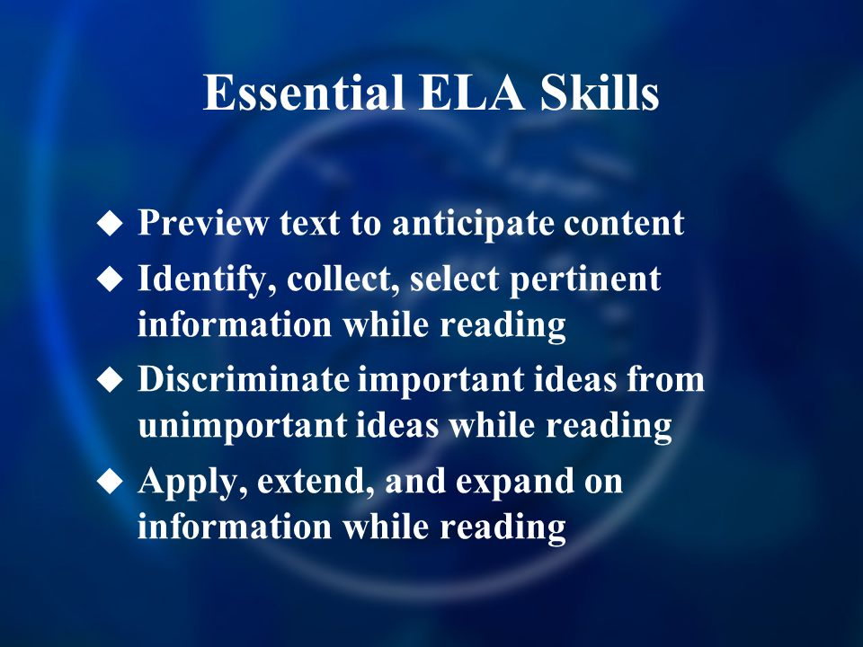 Essential ELA Skills Preview text to anticipate content