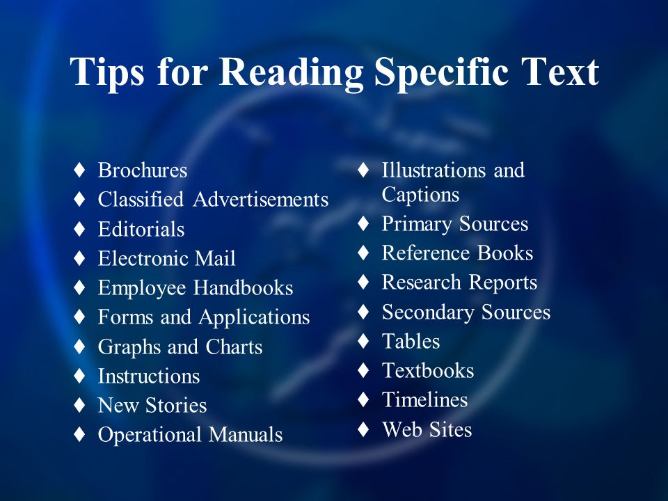 Tips for Reading Specific Text