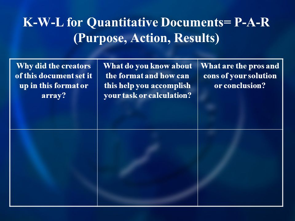 K-W-L for Quantitative Documents= P-A-R (Purpose, Action, Results)